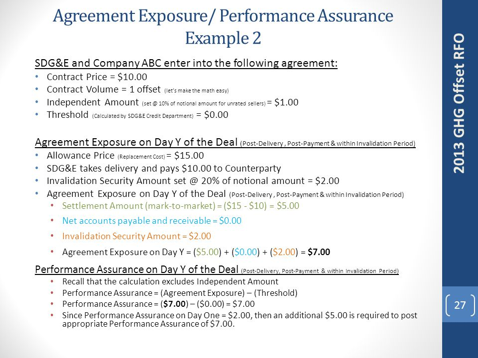 Agreement Exposure/ Performance Assurance Example 2 SDG&E and Company ABC enter into the following agreement: Contract Price = $10.00 Contract Volume = 1 offset (let's make the math easy) Independent Amount (set @ 10% of notional amount for unrated sellers) = $1.00 Threshold (Calculated by SDG&E Credit Department) = $0.00 Agreement Exposure on Day Y of the Deal (Post-Delivery, Post-Payment & within Invalidation Period) Allowance Price (Replacement Cost) = $15.00 SDG&E takes delivery and pays $10.00 to Counterparty Invalidation Security Amount set @ 20% of notional amount = $2.00 Agreement Exposure on Day Y of the Deal (Post-Delivery, Post-Payment & within Invalidation Period) Settlement Amount (mark-to-market) = ($15 - $10) = $5.00 Net accounts payable and receivable = $0.00 Invalidation Security Amount = $2.00 Agreement Exposure on Day Y = ($5.00) + ($0.00) + ($2.00) = $7.00 Performance Assurance on Day Y of the Deal (Post-Delivery, Post-Payment & within Invalidation Period) Recall that the calculation excludes Independent Amount Performance Assurance = (Agreement Exposure) – (Threshold) Performance Assurance = ($7.00) – ($0.00) = $7.00 Since Performance Assurance on Day One = $2.00, then an additional $5.00 is required to post appropriate Performance Assurance of $7.00.