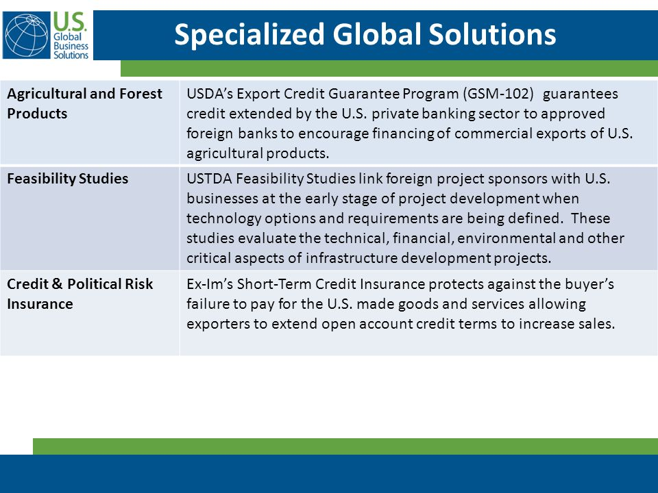 Specialized Global Solutions Agricultural and Forest Products USDA's Export Credit Guarantee Program (GSM-102) guarantees credit extended by the U.S.