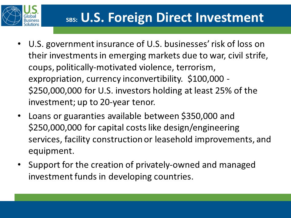 SBS: U.S. Foreign Direct Investment U.S. government insurance of U.S. businesses' risk of loss on their investments in emerging markets due to war, ci