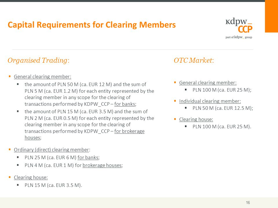  General clearing member:  the amount of PLN 50 M (ca.