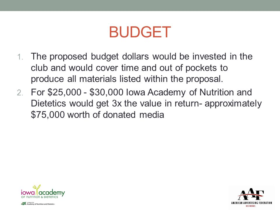 BUDGET 1. The proposed budget dollars would be invested in the club and would cover time and out of pockets to produce all materials listed within the