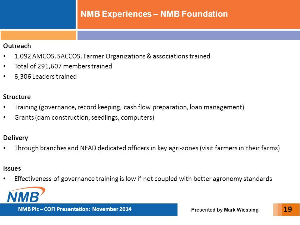 Presented by Mark Wiessing NMB Plc – COFI Presentation: November 2014 19 Outreach 1,092 AMCOS, SACCOS, Farmer Organizations & associations trained Tot
