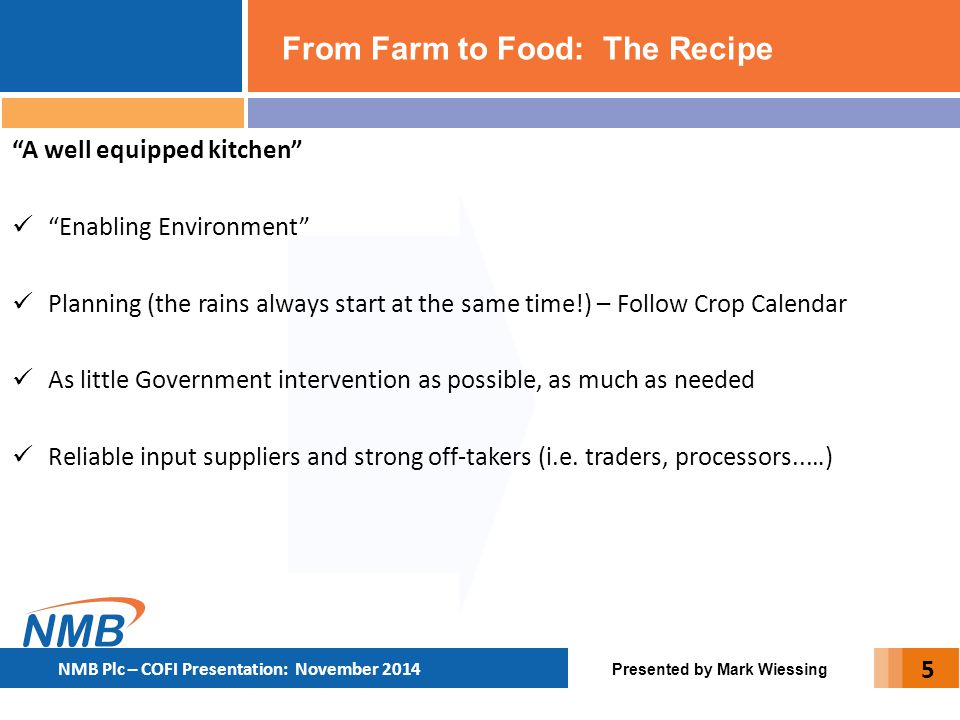 """From Farm to Food: The Recipe Presented by Mark Wiessing NMB Plc – COFI Presentation: November 2014 """"A well equipped kitchen"""" """"Enabling Environment"""" P"""