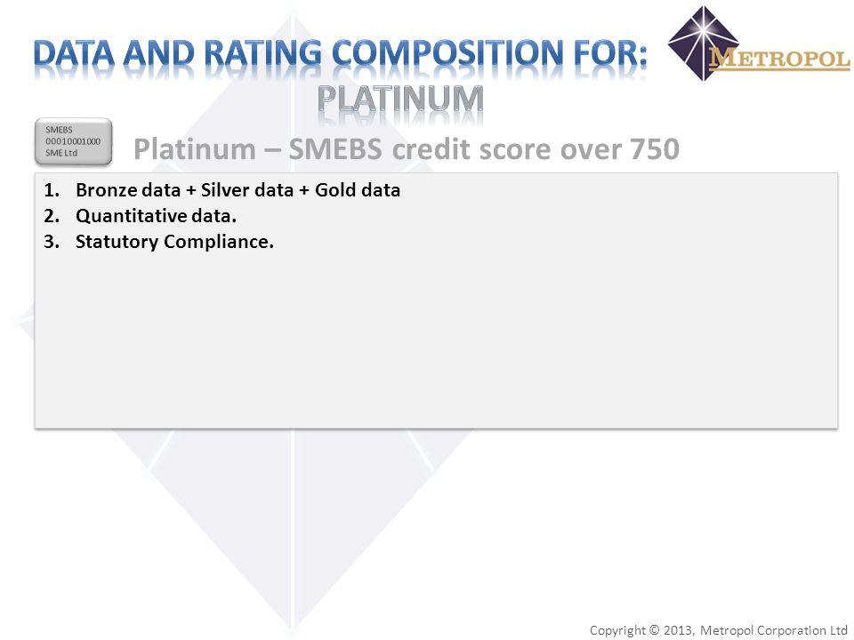 Copyright © 2013, Metropol Corporation Ltd SMEBS 00010001000 SME Ltd SMEBS 00010001000 SME Ltd Platinum – SMEBS credit score over 750 1.Bronze data +