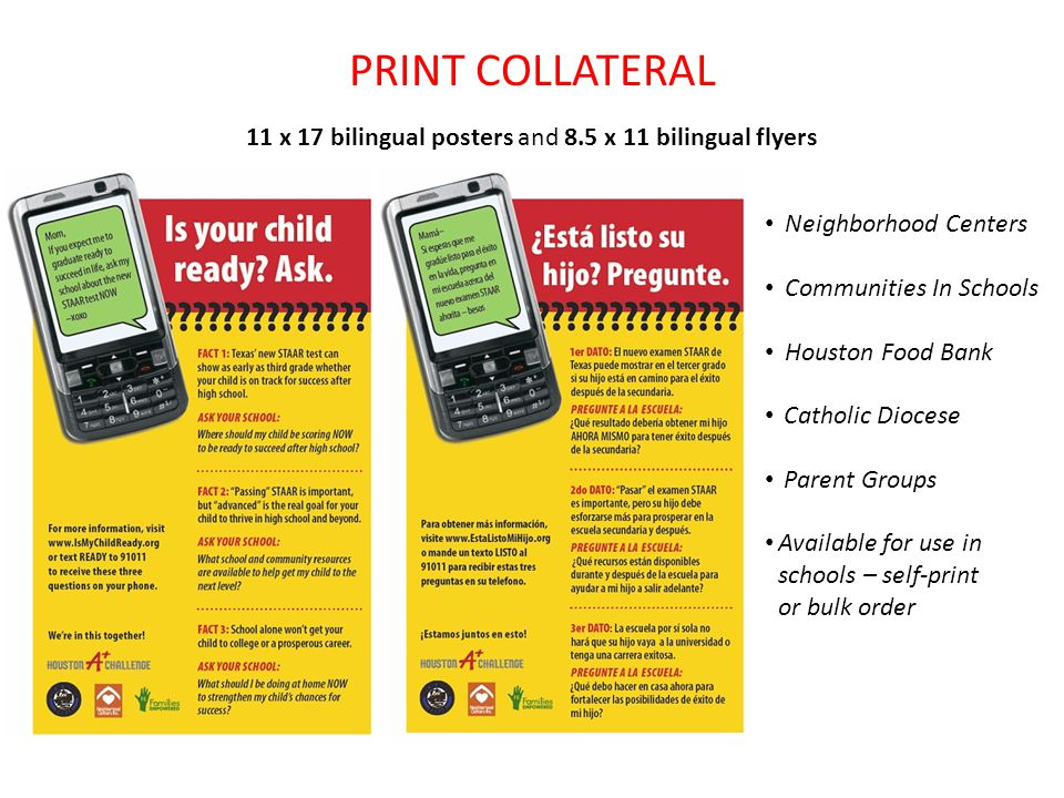 PRINT COLLATERAL 11 x 17 bilingual posters and 8.5 x 11 bilingual flyers Neighborhood Centers Communities In Schools Houston Food Bank Catholic Diocese Parent Groups Available for use in schools – self-print or bulk order