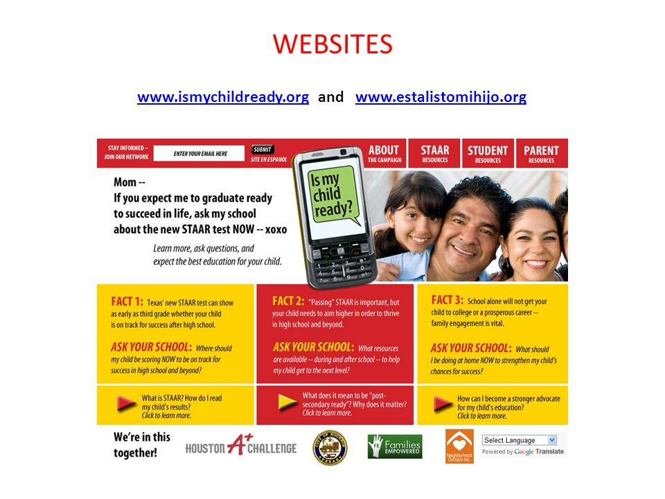 WEBSITES www.ismychildready.orgwww.ismychildready.org and www.estalistomihijo.orgwww.estalistomihijo.org