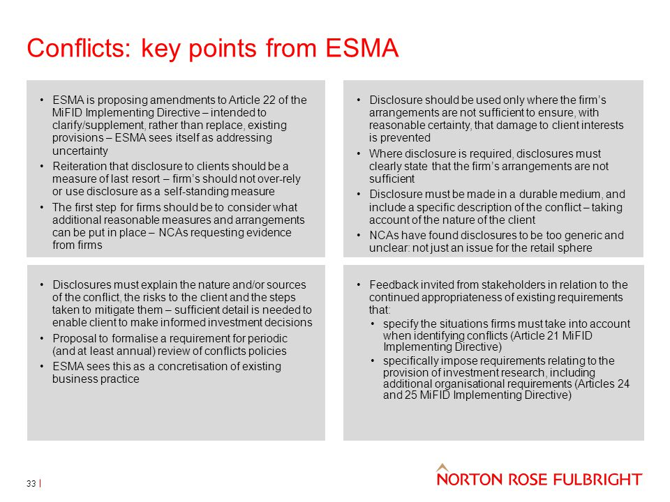 Conflicts: key points from ESMA 33 ESMA is proposing amendments to Article 22 of the MiFID Implementing Directive – intended to clarify/supplement, ra