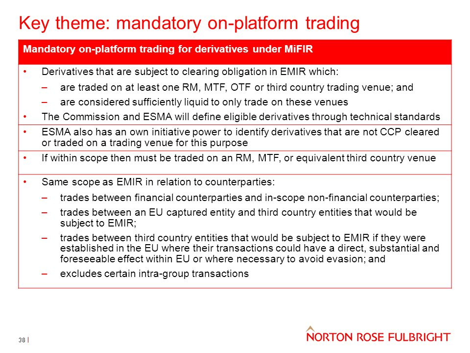 Key theme: mandatory on-platform trading Mandatory on-platform trading for derivatives under MiFIR Derivatives that are subject to clearing obligation