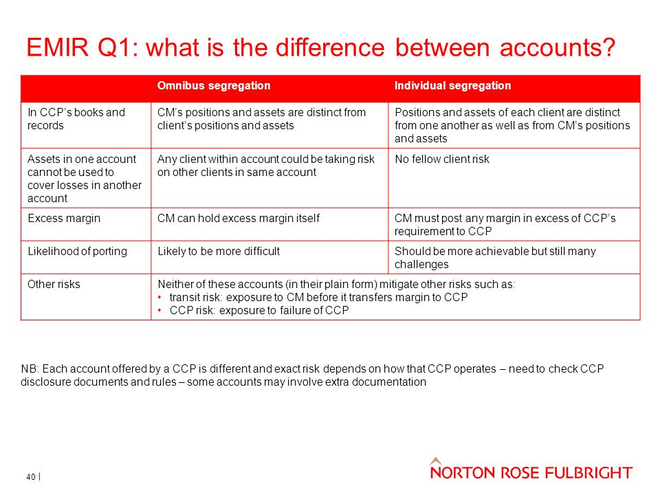 EMIR Q1: what is the difference between accounts? NB: Each account offered by a CCP is different and exact risk depends on how that CCP operates – nee