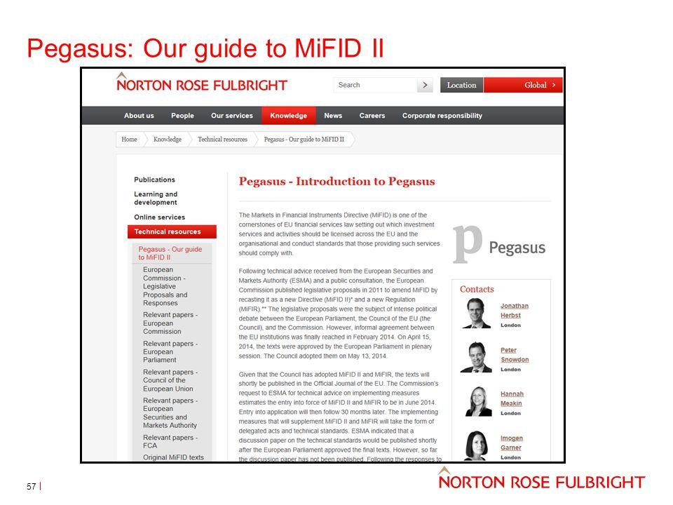 Pegasus: Our guide to MiFID II 57