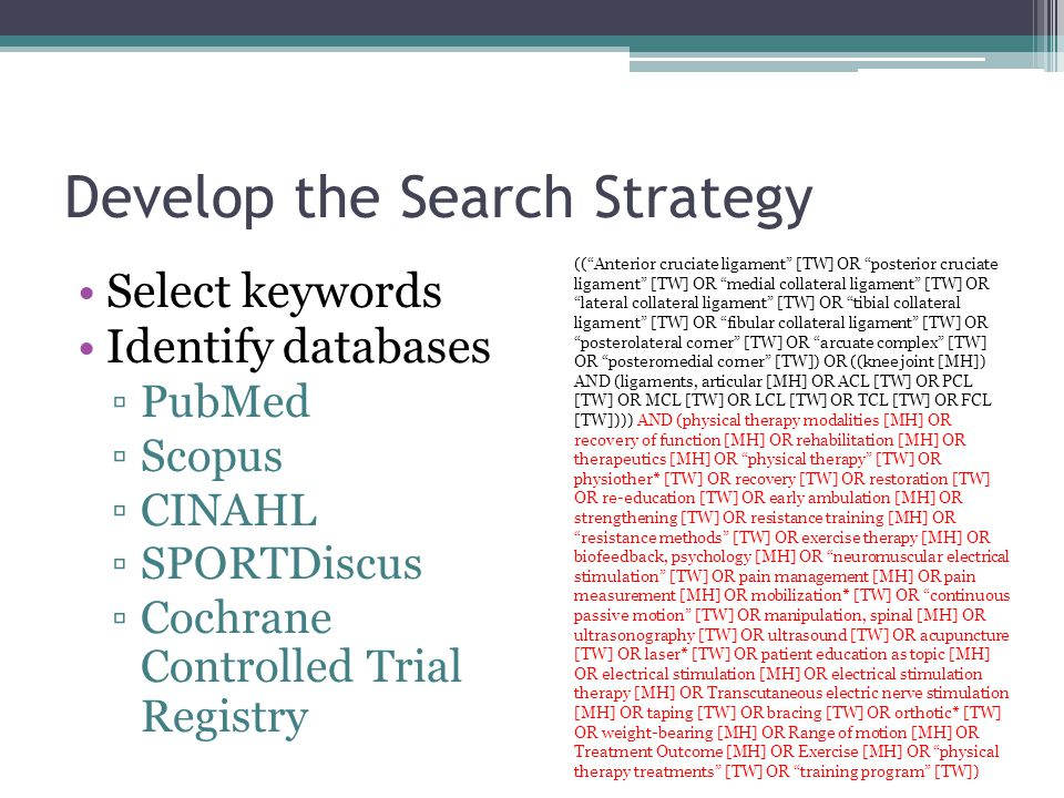 Develop the Search Strategy Select keywords Identify databases ▫PubMed ▫Scopus ▫CINAHL ▫SPORTDiscus ▫Cochrane Controlled Trial Registry (( Anterior cruciate ligament [TW] OR posterior cruciate ligament [TW] OR medial collateral ligament [TW] OR lateral collateral ligament [TW] OR tibial collateral ligament [TW] OR fibular collateral ligament [TW] OR posterolateral corner [TW] OR arcuate complex [TW] OR posteromedial corner [TW]) OR ((knee joint [MH]) AND (ligaments, articular [MH] OR ACL [TW] OR PCL [TW] OR MCL [TW] OR LCL [TW] OR TCL [TW] OR FCL [TW]))) AND (physical therapy modalities [MH] OR recovery of function [MH] OR rehabilitation [MH] OR therapeutics [MH] OR physical therapy [TW] OR physiother* [TW] OR recovery [TW] OR restoration [TW] OR re-education [TW] OR early ambulation [MH] OR strengthening [TW] OR resistance training [MH] OR resistance methods [TW] OR exercise therapy [MH] OR biofeedback, psychology [MH] OR neuromuscular electrical stimulation [TW] OR pain management [MH] OR pain measurement [MH] OR mobilization* [TW] OR continuous passive motion [TW] OR manipulation, spinal [MH] OR ultrasonography [TW] OR ultrasound [TW] OR acupuncture [TW] OR laser* [TW] OR patient education as topic [MH] OR electrical stimulation [MH] OR electrical stimulation therapy [MH] OR Transcutaneous electric nerve stimulation [MH] OR taping [TW] OR bracing [TW] OR orthotic* [TW] OR weight-bearing [MH] OR Range of motion [MH] OR Treatment Outcome [MH] OR Exercise [MH] OR physical therapy treatments [TW] OR training program [TW])