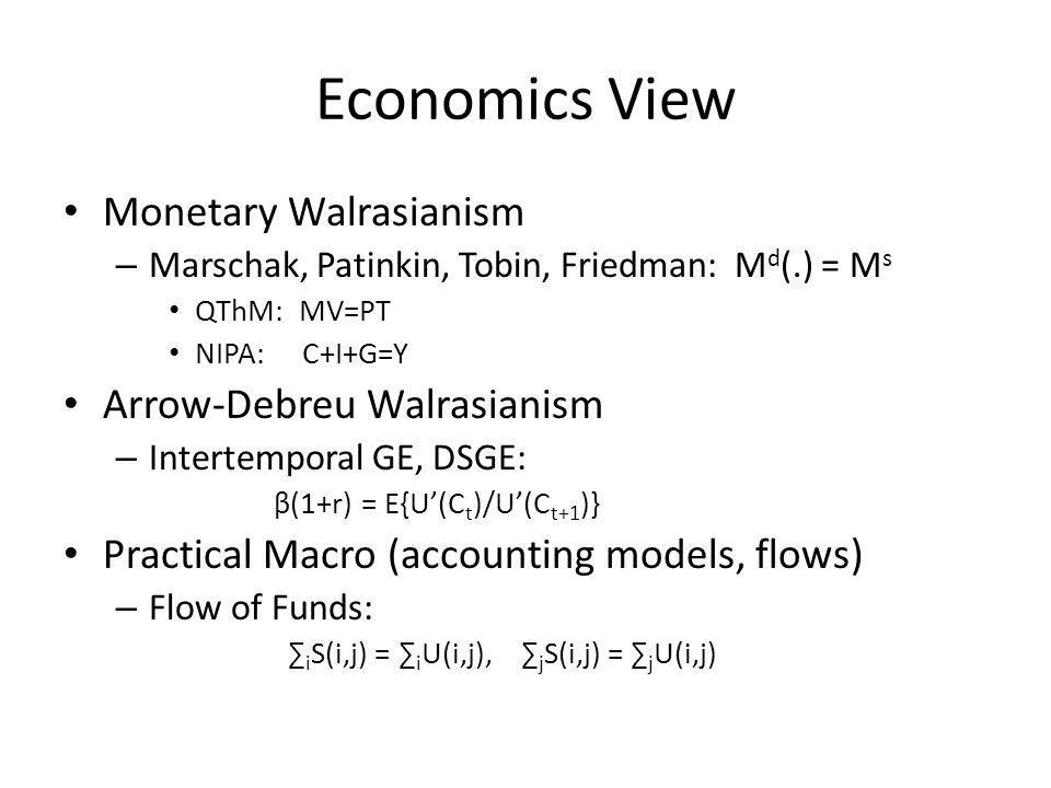 Economics View Monetary Walrasianism – Marschak, Patinkin, Tobin, Friedman: M d (.) = M s QThM: MV=PT NIPA: C+I+G=Y Arrow-Debreu Walrasianism – Intertemporal GE, DSGE: β(1+r) = E{U'(C t )/U'(C t+1 )} Practical Macro (accounting models, flows) – Flow of Funds: ∑ i S(i,j) = ∑ i U(i,j), ∑ j S(i,j) = ∑ j U(i,j)
