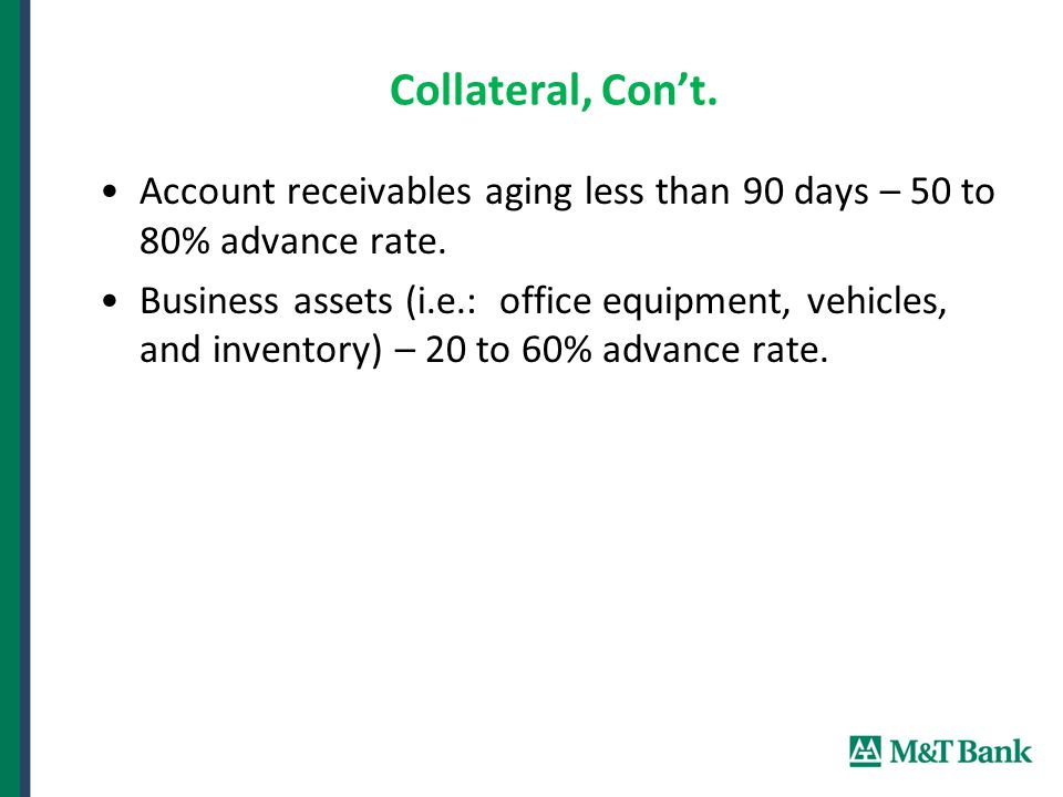 Collateral, Con't. Account receivables aging less than 90 days – 50 to 80% advance rate.