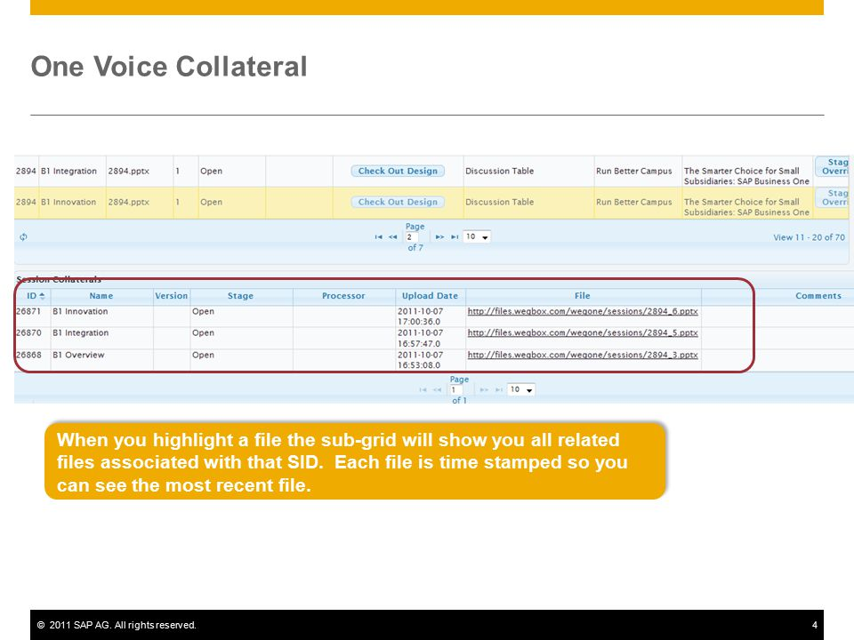©2011 SAP AG. All rights reserved.4 One Voice Collateral When you highlight a file the sub-grid will show you all related files associated with that S