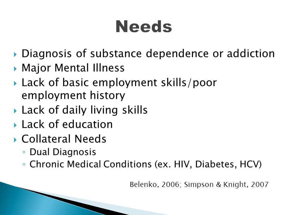  Diagnosis of substance dependence or addiction  Major Mental Illness  Lack of basic employment skills/poor employment history  Lack of daily livi