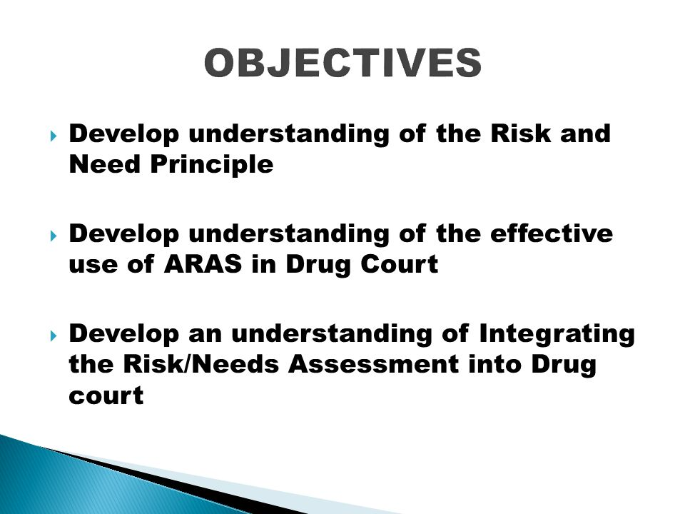  Develop understanding of the Risk and Need Principle  Develop understanding of the effective use of ARAS in Drug Court  Develop an understanding o