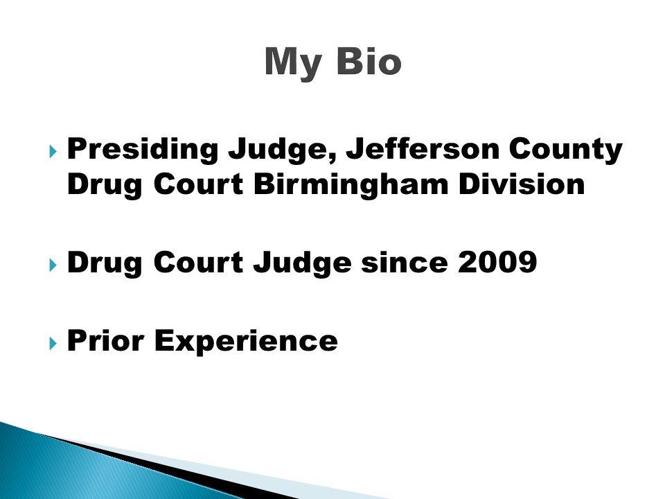 Presiding Judge, Jefferson County Drug Court Birmingham Division  Drug Court Judge since 2009  Prior Experience