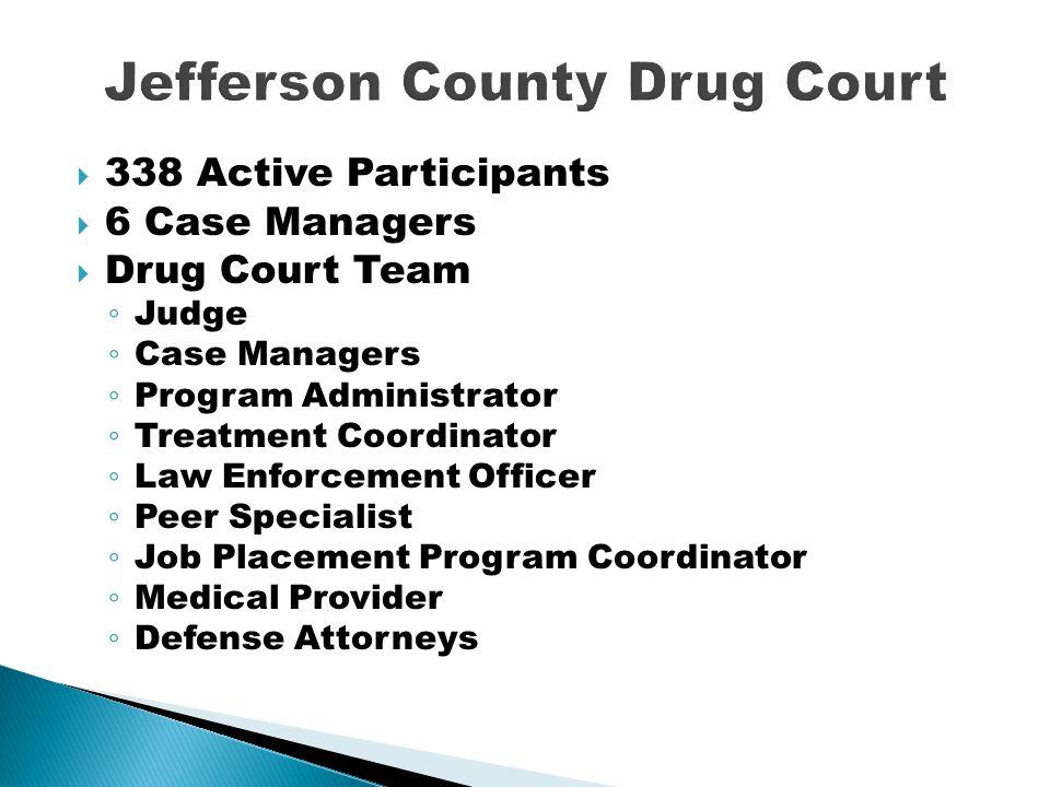  338 Active Participants  6 Case Managers  Drug Court Team ◦ Judge ◦ Case Managers ◦ Program Administrator ◦ Treatment Coordinator ◦ Law Enforcemen