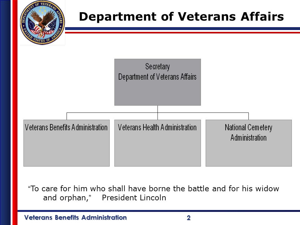 Veterans Benefits Administration 2 Department of Veterans Affairs To care for him who shall have borne the battle and for his widow and orphan, President Lincoln