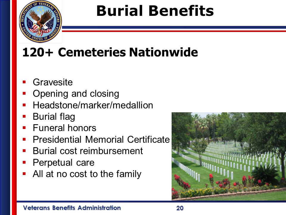 Veterans Benefits Administration 20 Burial Benefits 120+ Cemeteries Nationwide  Gravesite  Opening and closing  Headstone/marker/medallion  Burial flag  Funeral honors  Presidential Memorial Certificate  Burial cost reimbursement  Perpetual care  All at no cost to the family