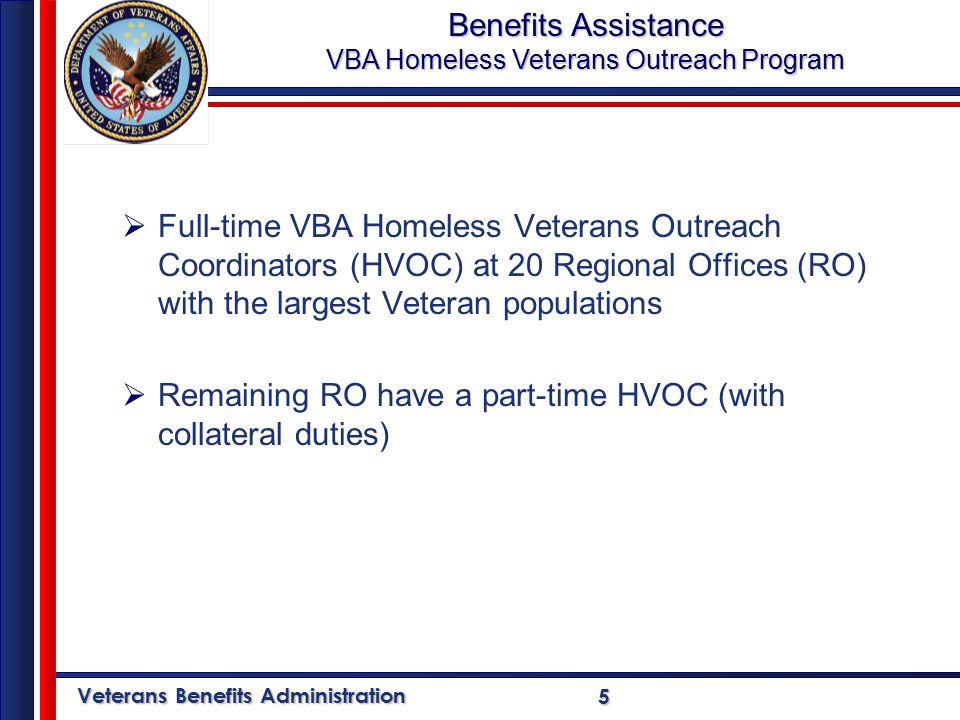 Veterans Benefits Administration 66 Full-time VBA Homeless Veterans Outreach Coordinators (HVOC) at 20 Regional Offices San Juan Anchorage Honolulu Seattle Portland Togus Buffalo White River Jct.