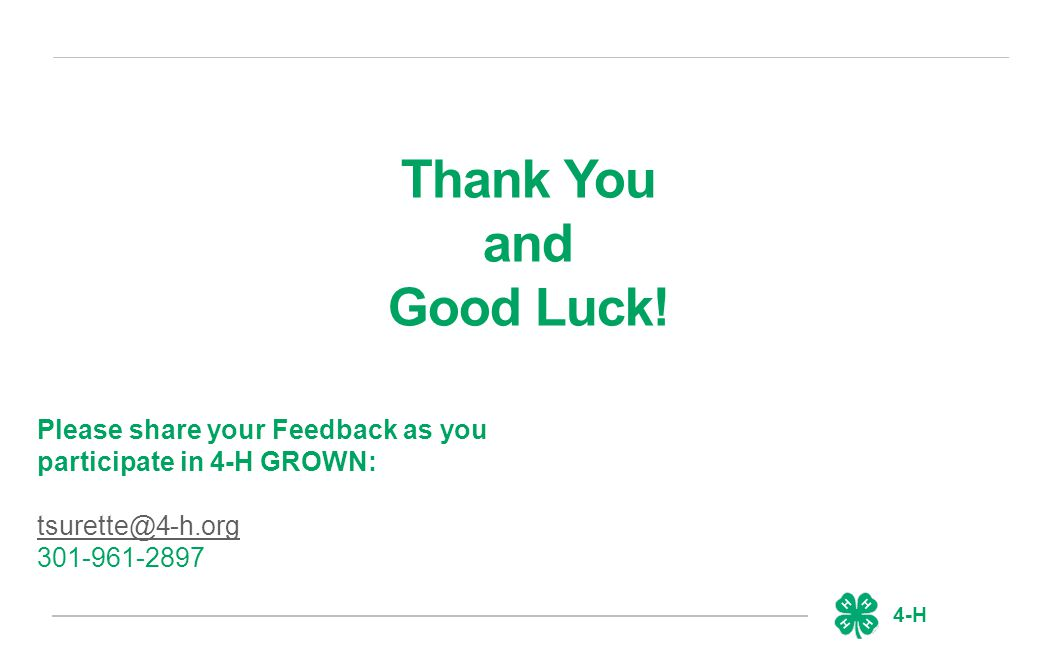 4-H Thank You and Good Luck.