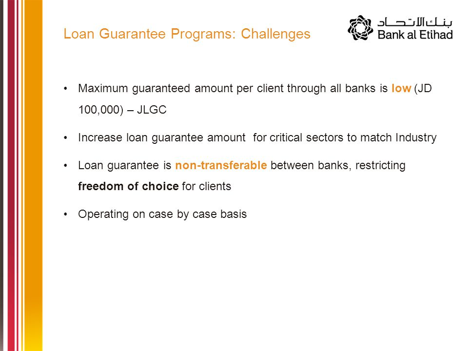 Maximum guaranteed amount per client through all banks is low (JD 100,000) – JLGC Increase loan guarantee amount for critical sectors to match Industry Loan guarantee is non-transferable between banks, restricting freedom of choice for clients Operating on case by case basis Loan Guarantee Programs: Challenges