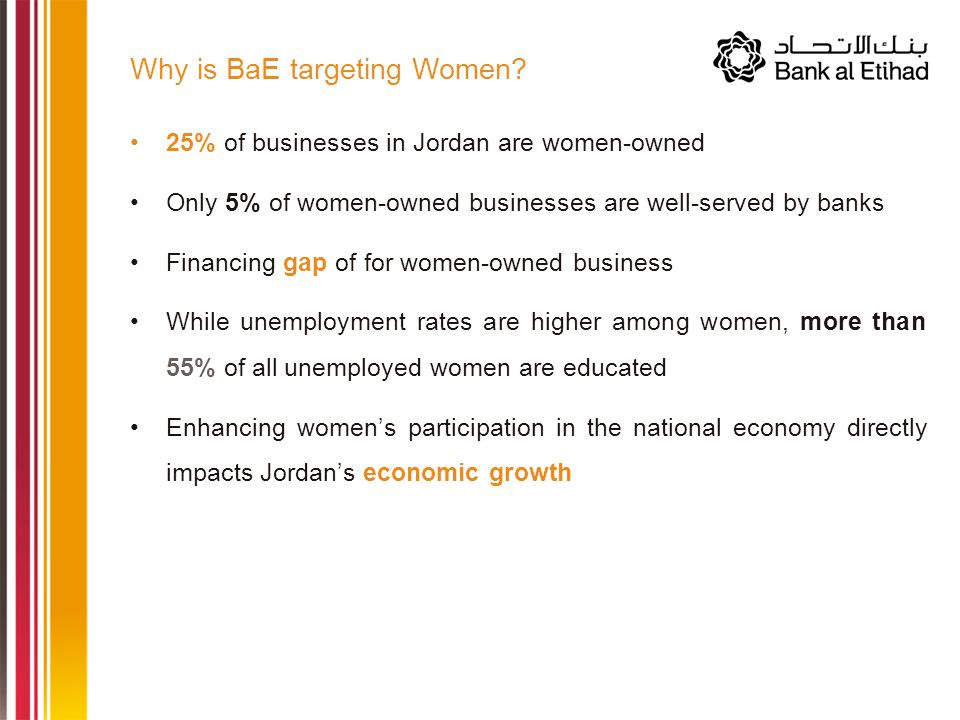 25% of businesses in Jordan are women-owned Only 5% of women-owned businesses are well-served by banks Financing gap of for women-owned business While unemployment rates are higher among women, more than 55% of all unemployed women are educated Enhancing women's participation in the national economy directly impacts Jordan's economic growth Why is BaE targeting Women