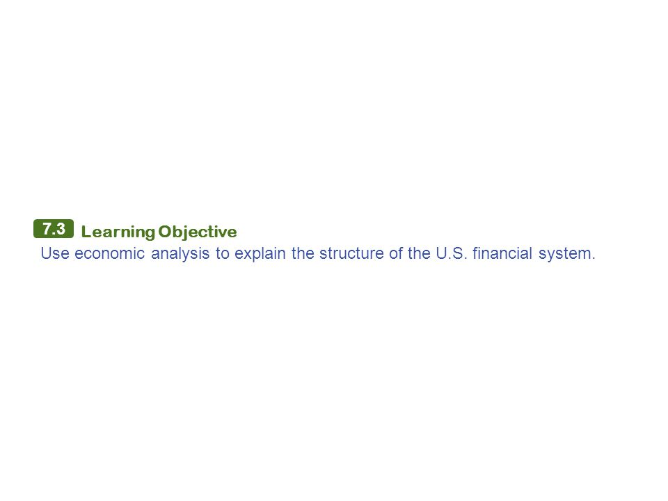 7.3 Learning Objective Use economic analysis to explain the structure of the U.S. financial system.