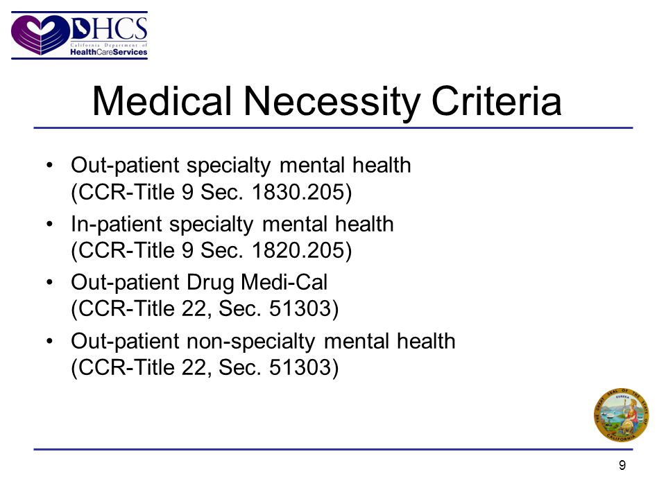 Out-patient specialty mental health (CCR-Title 9 Sec.