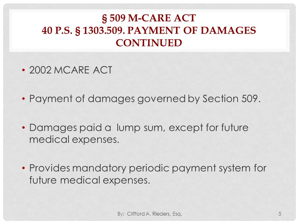 § 508(B) INTRODUCTION OF MEDICAL BILLS 40 P.S.