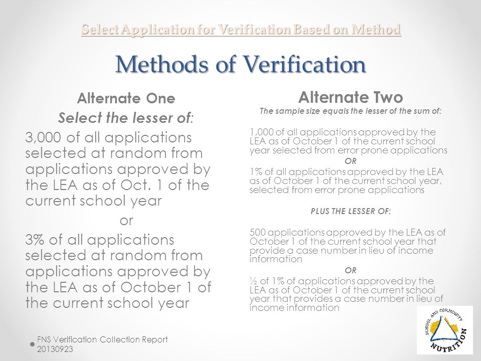 Select Application for Verification Based on Method Methods of Verification Alternate Two The sample size equals the lesser of the sum of: 1,000 of al