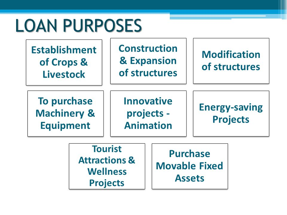 LOAN PURPOSES Establishment of Crops & Livestock Construction & Expansion of structures Modification of structures To purchase Machinery & Equipment Innovative projects - Animation Energy-saving Projects Tourist Attractions & Wellness Projects Purchase Movable Fixed Assets