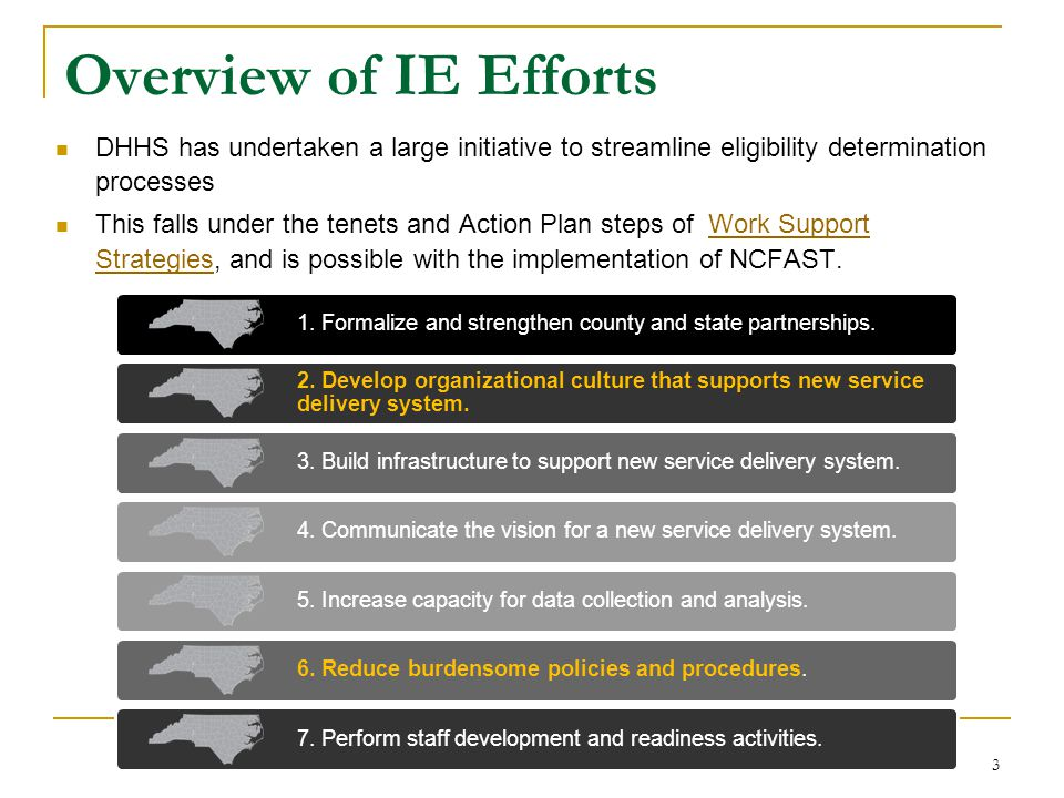 3 Overview of IE Efforts DHHS has undertaken a large initiative to streamline eligibility determination processes This falls under the tenets and Acti
