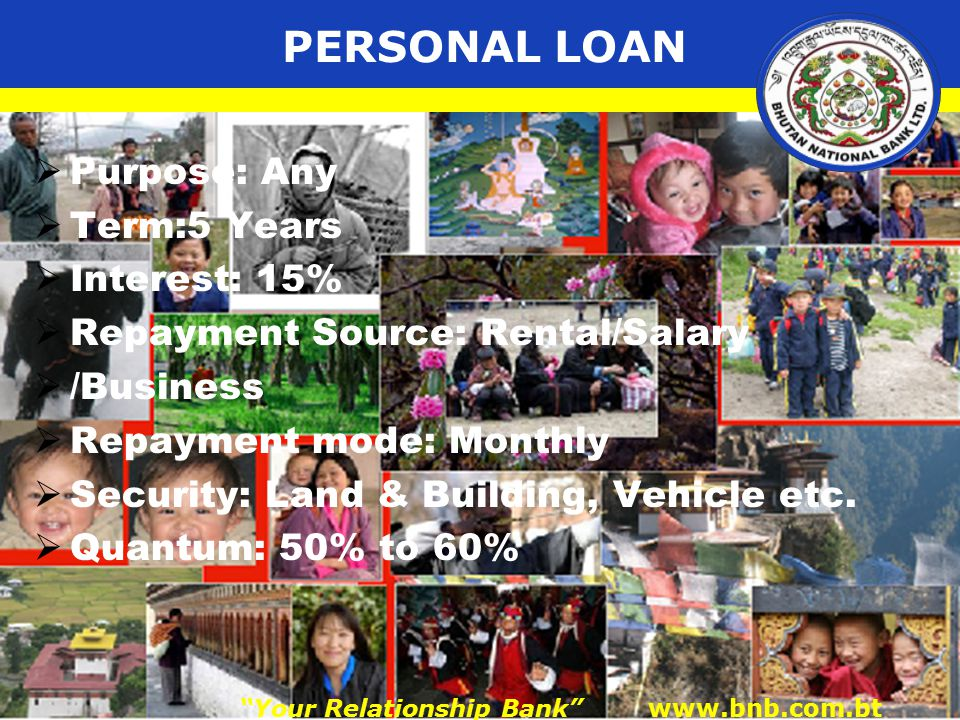 PERSONAL LOAN  Purpose: Any  Term:5 Years  Interest: 15%  Repayment Source: Rental/Salary  /Business  Repayment mode: Monthly  Security: Land & Building, Vehicle etc.