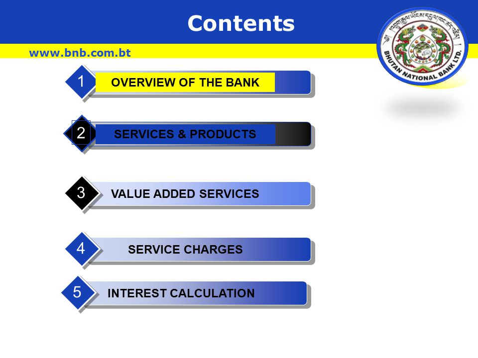 Our Mission  To become the leading Relationship Bank in the Country  Providing array of services & Products  From Customized Loans, investments, Foreign Exchange & Remittance to Advisory Services Your Relationship Bank www.bnb.com.bt