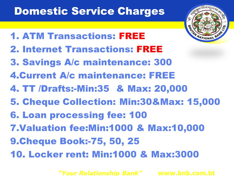 Domestic Service Charges 1. ATM Transactions: FREE 2.