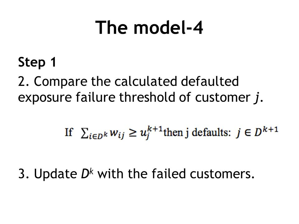 The model-4 Step 1 2. Compare the calculated defaulted exposure failure threshold of customer j. 3. Update D k with the failed customers.