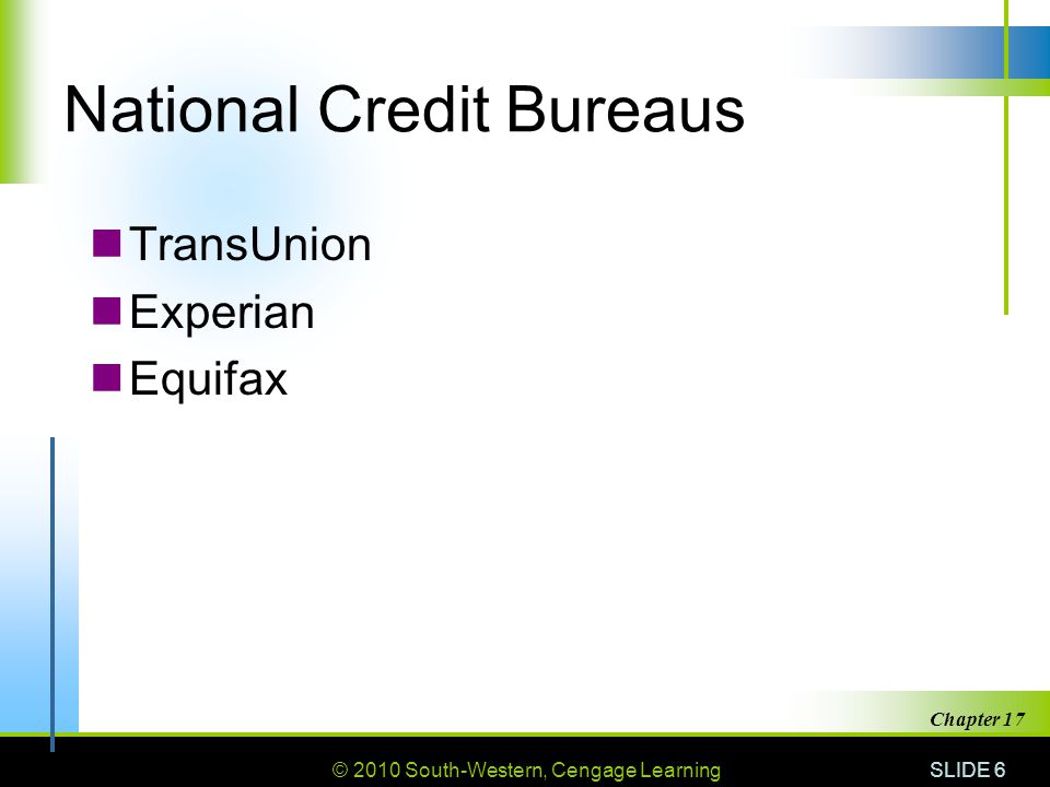 © 2010 South-Western, Cengage Learning SLIDE 6 Chapter 17 National Credit Bureaus TransUnion Experian Equifax