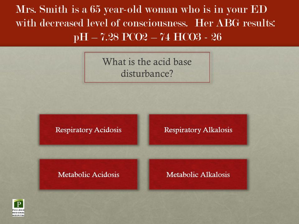 Mrs. Smith is a 65 year-old woman who is in your ED with decreased level of consciousness.