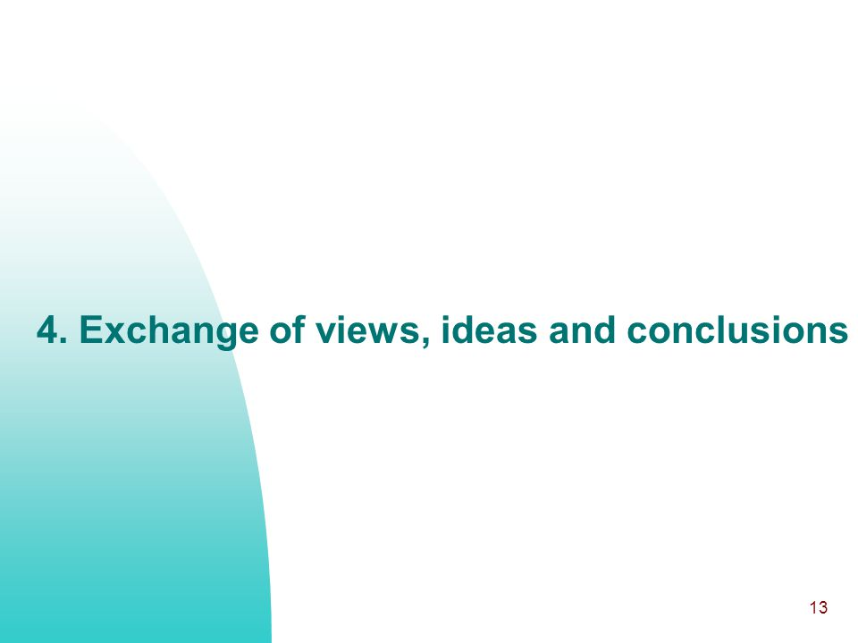 13 4. Exchange of views, ideas and conclusions