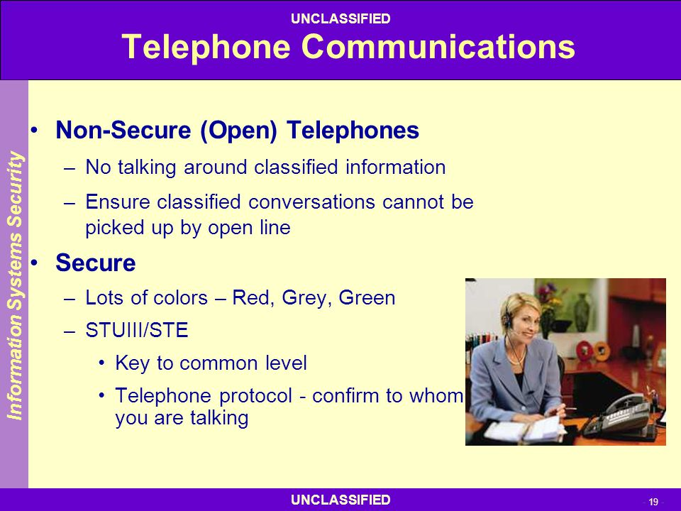 UNCLASSIFIED - 19 - UNCLASSIFIED Telephone Communications Non-Secure (Open) Telephones –No talking around classified information –Ensure classified co