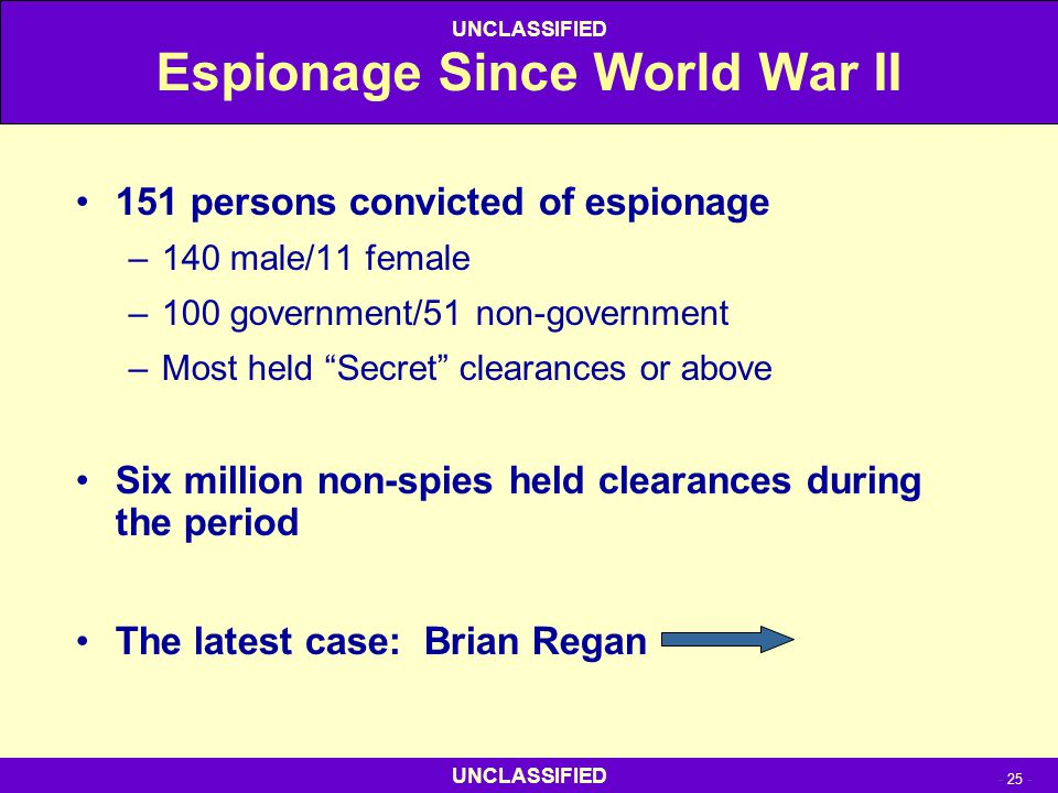 """- 25 - UNCLASSIFIED Espionage Since World War II 151 persons convicted of espionage –140 male/11 female –100 government/51 non-government –Most held """""""