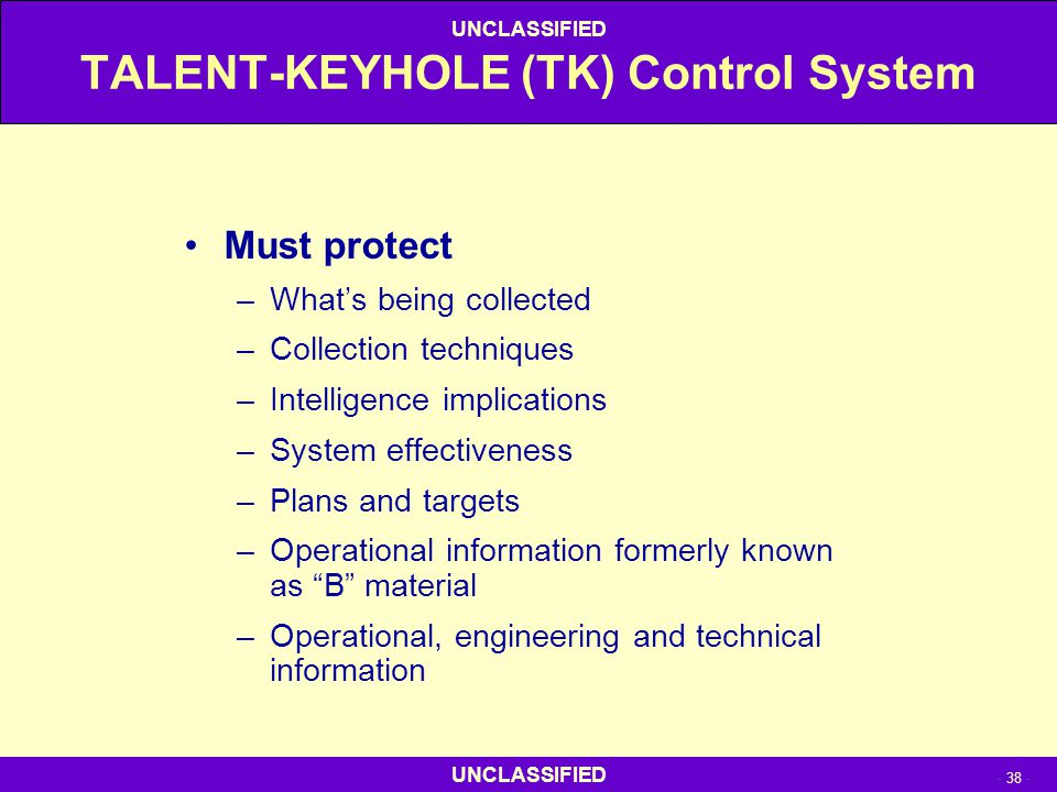 UNCLASSIFIED - 38 - UNCLASSIFIED TALENT-KEYHOLE (TK) Control System Must protect –What's being collected –Collection techniques –Intelligence implicat