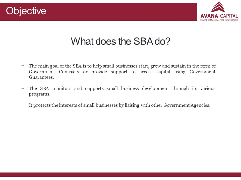 Objective What does the SBA do.