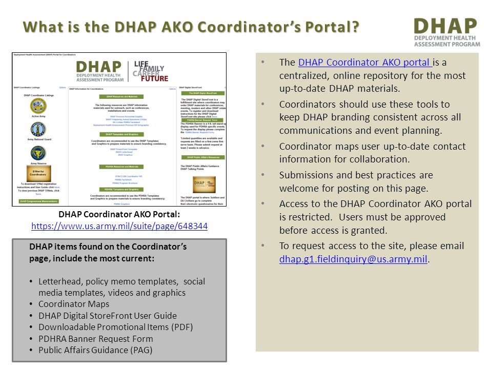 DHAP items found on the Coordinator's page, include the most current: Letterhead, policy memo templates, social media templates, videos and graphics C