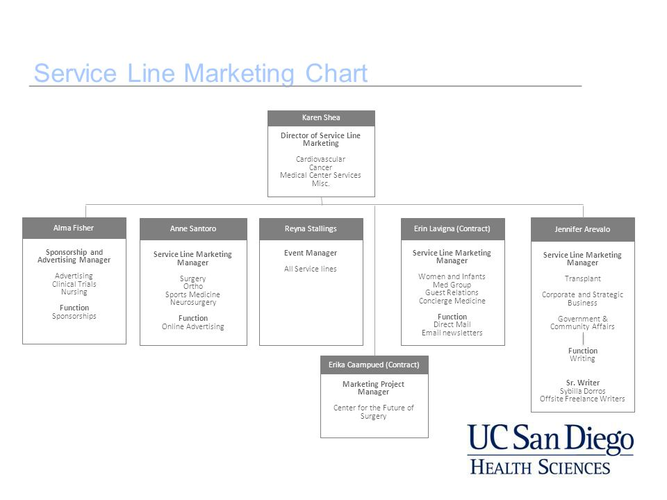 Service Line Marketing Chart Sponsorship and Advertising Manager Advertising Clinical Trials Nursing Function Sponsorships Alma Fisher Anne Santoro Se