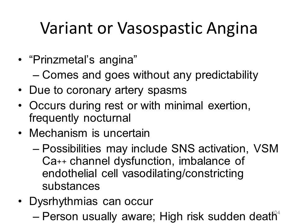 Variant or Vasospastic Angina 103