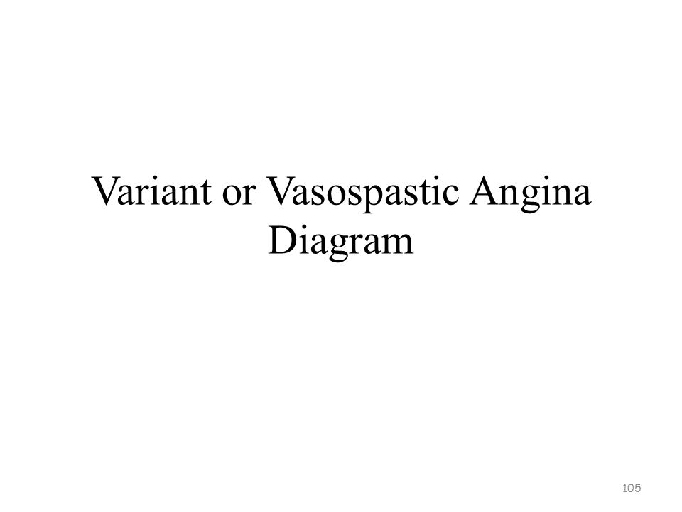 Variant or Vasospastic Angina Prinzmetal's angina –Comes and goes without any predictability Due to coronary artery spasms Occurs during rest or with minimal exertion, frequently nocturnal Mechanism is uncertain –Possibilities may include SNS activation, VSM Ca ++ channel dysfunction, imbalance of endothelial cell vasodilating/constricting substances Dysrhythmias can occur –Person usually aware; High risk sudden death 104