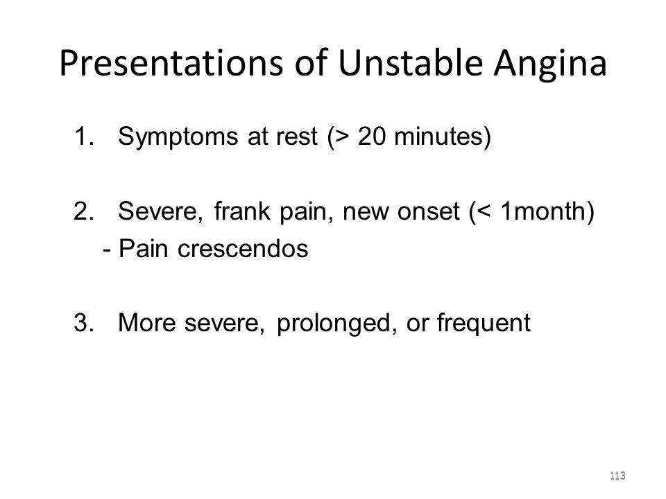 Presentations of Unstable Angina 112